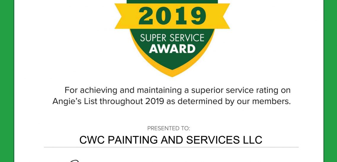 CWC Painting Earns 2019 Angie's List Super Service Award